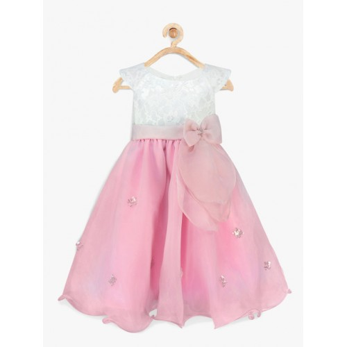 pspeaches Girls Pink & White Lace Fit & Flare Dress