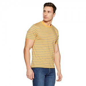Jockey Yellow Cotton Striped T-Shirt