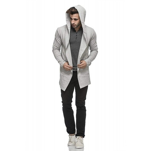 Tinted Grey Cotton Blend Hooded Cardigan