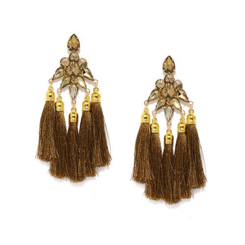 Zaveri Pearls Gold-Toned & Olive Brown Tasselled Drop Earrings