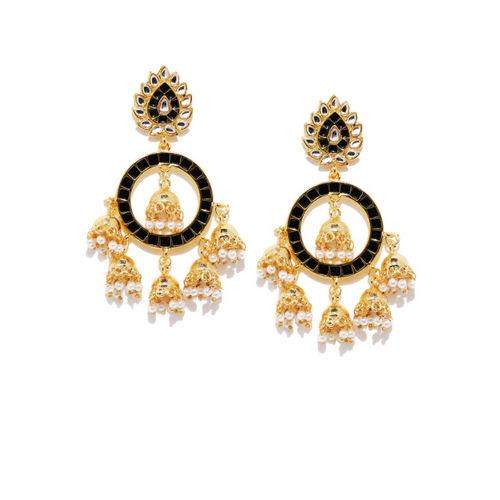 Zaveri Pearls Gold-Toned & Black Dome Shaped Jhumkas