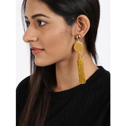 justpeachy Mustard Yellow Contemporary Drop Earrings