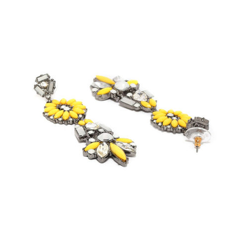 DressBerry Yellow & Silver-Toned Contemporary Drop Earrings