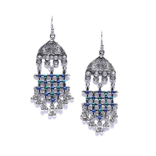 50ca33375 ... Infuzze Oxidised Silver-Toned & Blue Classic Drop Earrings ...