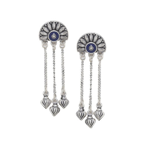 Voylla Silver-Plated Blue Contemporary Drop Earrings