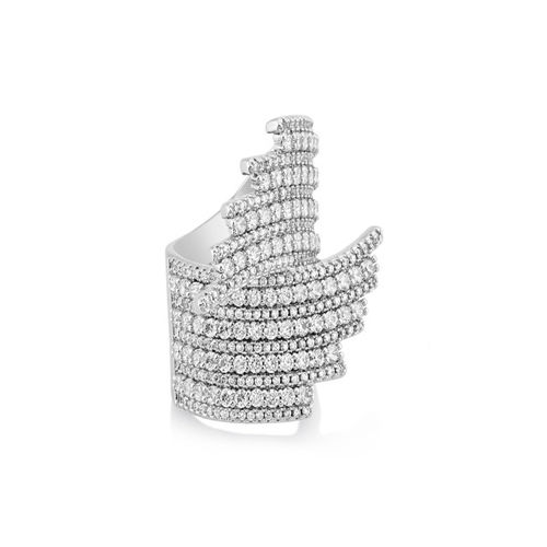 shaze Women Silver-Toned Stone-Studded Cocktail Ring