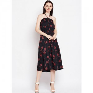 Oxolloxo Women Black Printed Fit and Flare Dress