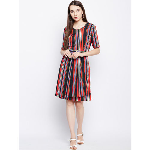 Oxolloxo Women Black Striped Fit and Flare Dress