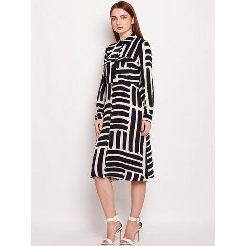 Oxolloxo Women Black Printed Abstract Couture Sherba Midi Shirt Dress