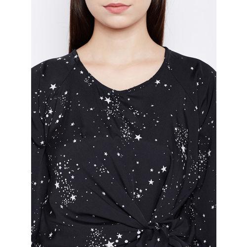 Oxolloxo Women Black Printed Wrap Dress