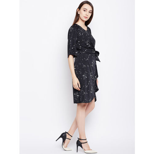 Oxolloxo Women Black Printed Wrap Dress