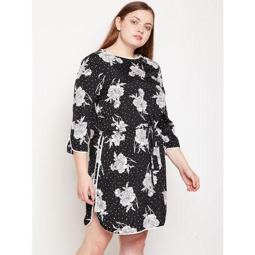Oxolloxo Women Plus Size Black Floral Print Blouson Dress