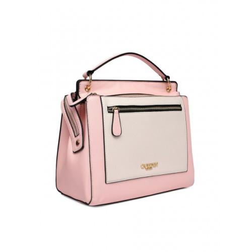Carlton London White & Pink Colourblocked Handheld Bag