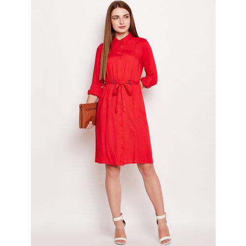 Oxolloxo Women Red Solid Shirt Dress