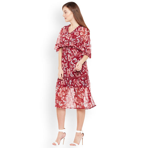 Oxolloxo Women Red Printed A-Line Dress