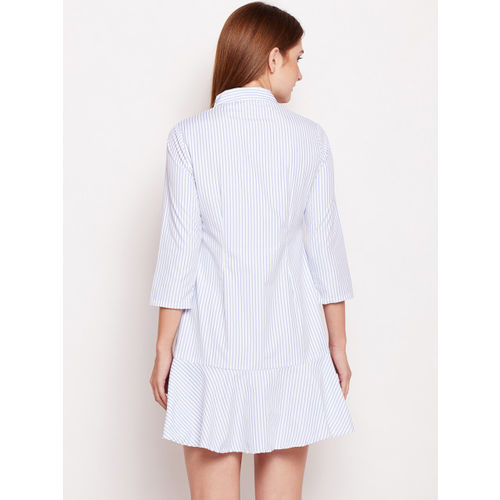 Oxolloxo Women Off-White Striped Shirt Dress