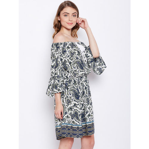 Oxolloxo Women White Printed Blouson Dress