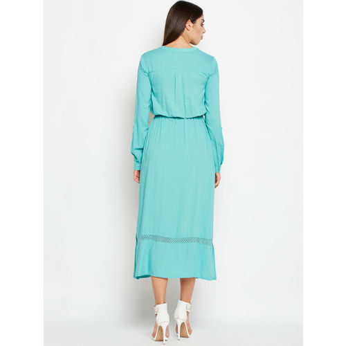 Oxolloxo Women Teal Blue Solid Midi Dress
