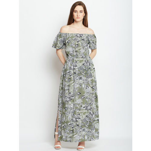Oxolloxo Women Green Printed Maxi Dress