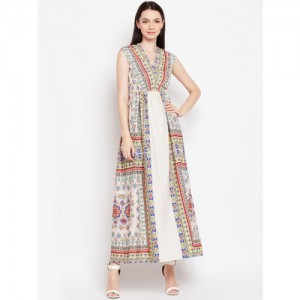 Oxolloxo Women Beige Printed Maxi Dress