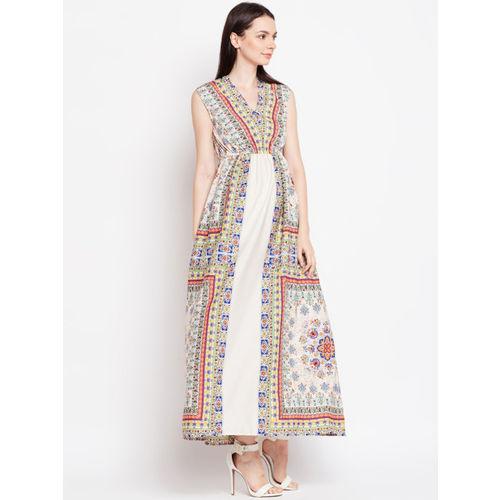 Oxolloxo Women Beige Printed Maxi Dress