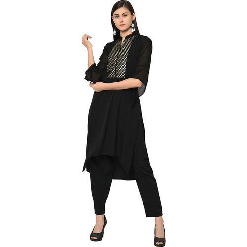 Ziyaa Women's Solid Straight Kurta(Black)