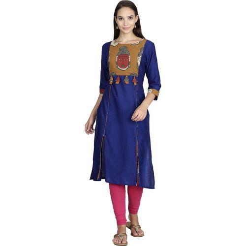 Alena Women's Kalamkari Straight Kurta(Blue)