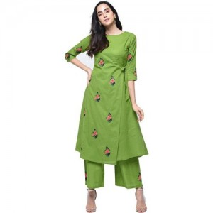 Zoeyams Green Casual Embroidered Kurti