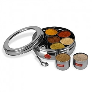 Sumeet Silver Stainless Steel Belly Shape Masala (Spice) Box/Organiser with See Through Lid with 7 Containers and Small Spoon