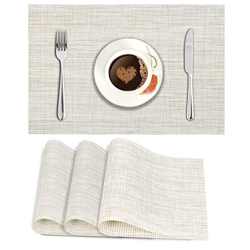 HOKIPO PVC Vinyl Washable Table Mats for Dining Table - 45x30 cm Placemats Set of 4, Beige (AR2761)