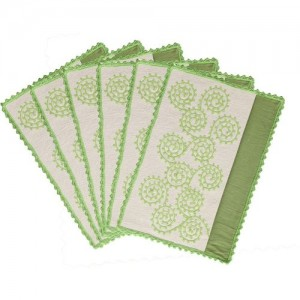 Saral Home Rectangular Pack of 6 Table Placemat(Green, Cotton)