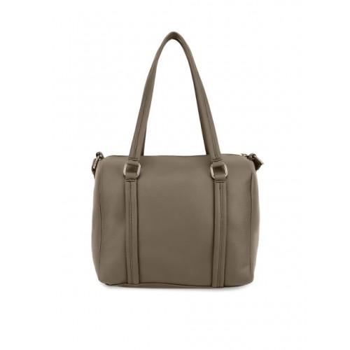 yelloe Brown Polyurethane Solid Shoulder Bag