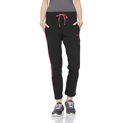 Lux Lyra Black Cotton & Lycra Track Pants