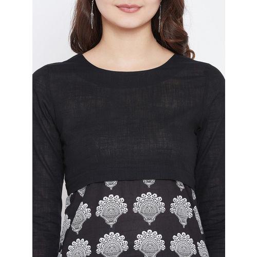 PANIT Women Black & Off-White Printed Straight Kurta