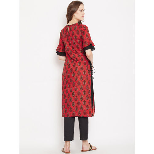PANIT Women Red & Black Printed Layered Straight Kurta