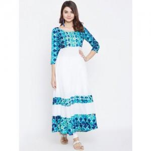 PANIT Women White & Blue Printed A-Line Kurta