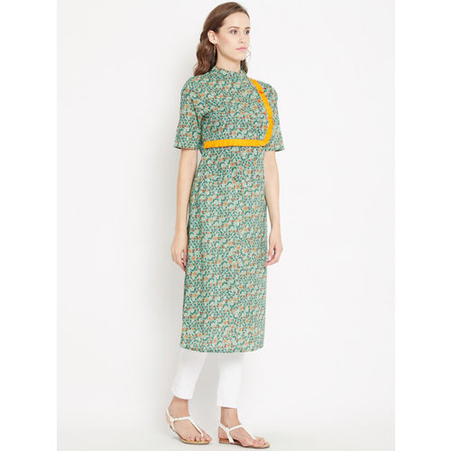 PANIT Women Green & Orange Printed Straight Kurta