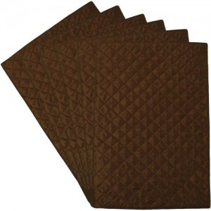 Home Shine Rectangular Pack of 6 Table Placemat(Brown, Polyester)