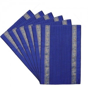 HOME SHINE Rectangular Pack of 6 Table Placemat(Blue, Polyester)