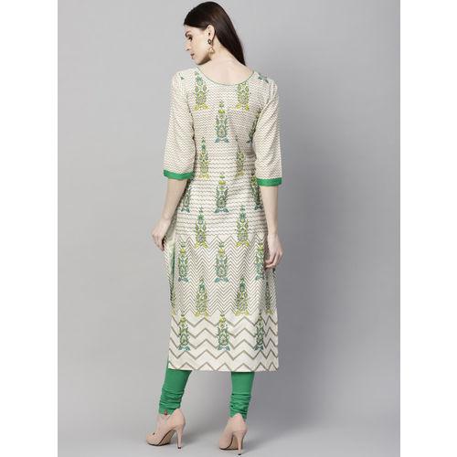 Yuris Women Off-White & Green Printed Straight Kurta