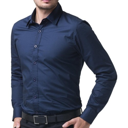 Being Fab Blue Solid Men's Formal Shirt