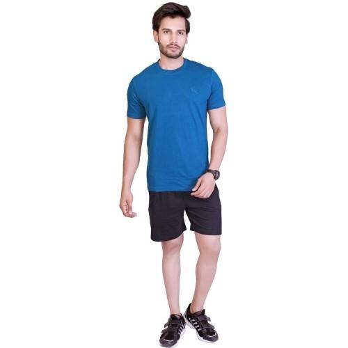 LUCfashion Men's Blue Solid Cotton Top & Bottom set