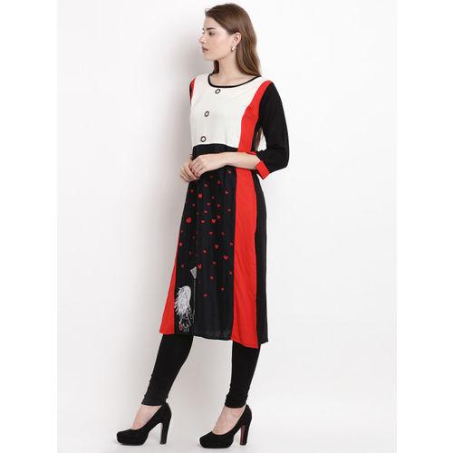 Yuris Women Black & Red Printed Straight Kurta