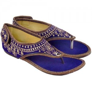 Sanaya Blue Synthetic Flat Ethnic Chappals