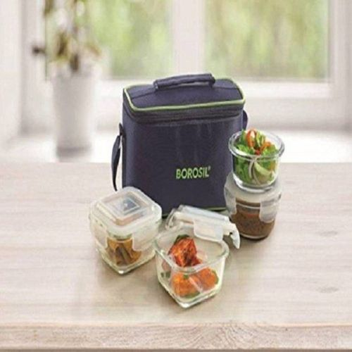 Borosil Universal Transparent Lunch Box( 2 Pc Round Container 240 ML Each, 2 Pc Square Container 320 ML Each) 4 Containers Lunch Box(320 ml)