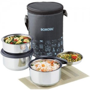 Borosil Carry Fresh Stainless Steel 3 Containers Lunch Box(280 ml)