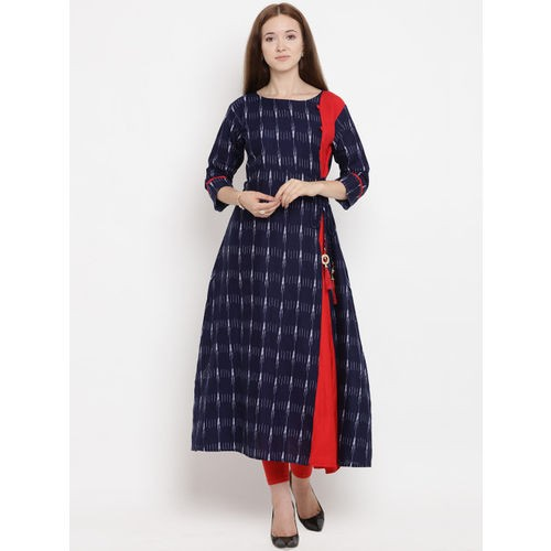 Yuris Blue Cotton Printed A-Line Kurta