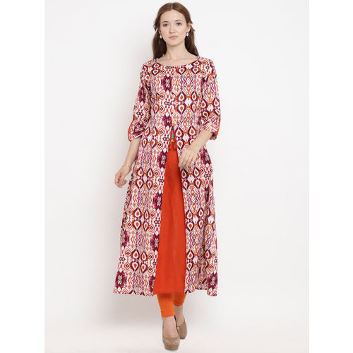 Yuris Women Orange & Pink Printed A-Line Kurta