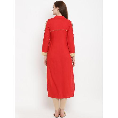 Yuris Women Red & Beige Embroidered Straight Kurta