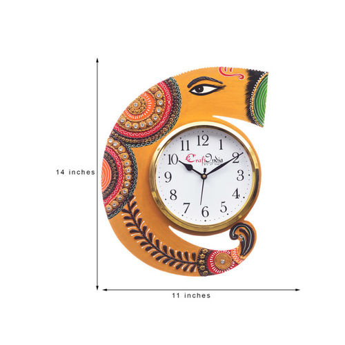 eCraftIndia White & Green Handcrafted Geometric Printed Analogue Wall Clock